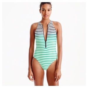 J Crew striped swimsuit size 2